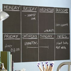 Chalkboard Wall Decal- this can be done with chalkboard paint as well. Great idea for an office area in the home.