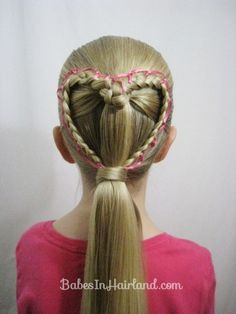 Ribbon Laced Heart Hairstyle from BabesInHairland.com  #valentinesday #heart #braid #ribbon #hairstyle #hair