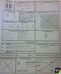 Some samples of Calendar Math in an upper grade classroom...just a little visual.