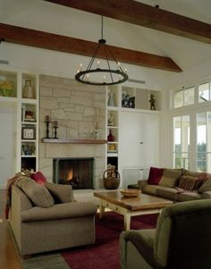 family room design, living rooms, fireplace design, ceiling beams, living room designs