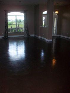 Beautiful dark stained concrete floors