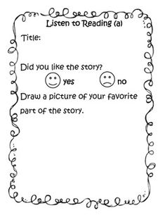 Daily 5 Listen to Reading Response Form (beginning of year)...