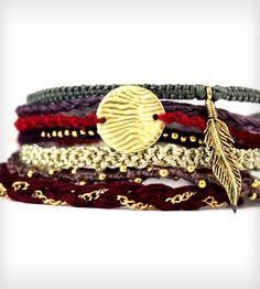 Bohemian Wanderer Friendship Bracelets. Love this stack of woven embellished bracelets.... inspiring.