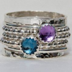 Birthstone rings set: Rose cut London Blue Topaz & Amethyst in sterling silver #jewelry - @nadinejewelry- #webstagram #jewelry #handmade #amethyst #february #birthstone #ring #december #london #blue #topaz #silver #handcrafted #etsy http://www.nadinagiurgiu.com