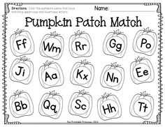 Lots of fall math and literacy activities... like this one: color the pumpkins that have matching uppercase and lowercase letters.
