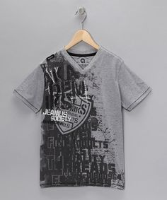Take a look at this Light Heather Gray Stamp Tee - Boys  by Boys Will Be Boys Collection on #zulily today!