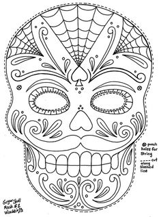 Yucca Flats, N.M.: Wenchkin's Coloring Pages - Moustached Sugar Skull Mask