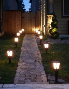 """The ideal distance between outdoor patio lights is 24"""". Any farther apart and you won't be able to see the walkway as clearly."""