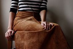 Long Leather/Suede High Waist 70's Maxi Skirt