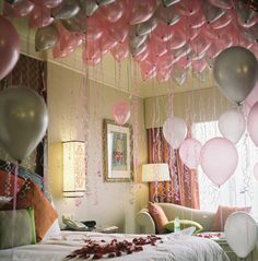 """fill a child's room with balloons before they wake up on their birthday!  I hope I remember this.... I mean really, as an ""adult"" I would love this!!!"""