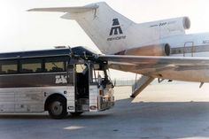 Mexicana Airlines Boeing 727 gets hit by a bus.