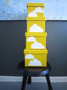 Yellow storage boxes