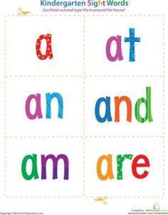 colorful kindergarten sight words
