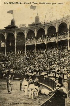 San Sebastián : plaza de toros : detalle de una gran corrida, 19--?