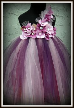 Purple flower girl dress.  Think I already found the flower girl dresses!!! Different colors but super cute for a SEPTEMBER wedding!!! :)....Purple pearl flower girl tutu dress by gurliglam on Etsy!