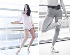 Susan Cover Up in Seashell, Kelly Bandeau in Black, and Doris Short in Heather Slate. #karmawear #clothingformovement #yogafashion #pointe #barre #fitness