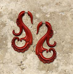 Fake Gauges  Marina Curls  Blood Wood Earrings by PrimalOriginals, $27.00