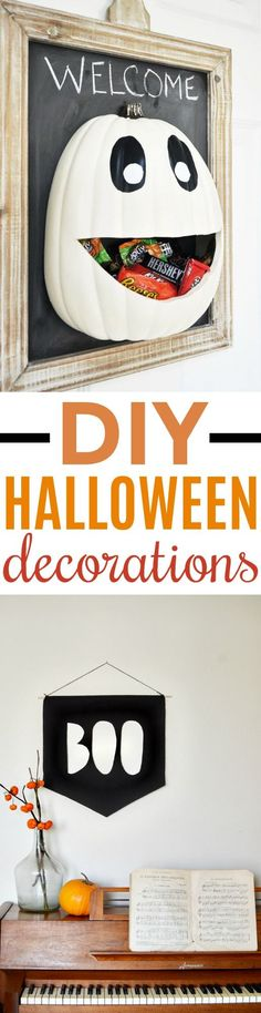 You are going to love these DIY Halloween decorations that won't  break the bank. Just because they're inexpensive doesn't mean they aren't  charming and full of holiday fun! #halloween #happyhalloween #trickortreat #halloweenparty #halloweenfun  #crafts #craftideas #DIY #halloweenDIY #halloweencraft #projects #diycrafts #diyprojects #fundiys #funprojects  #diyideas #craftprojects #diyprojectidea