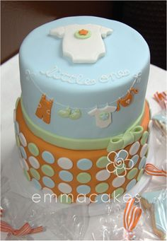 clothes line baby shower cake