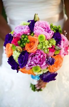 bouquets, dahlia, hydrangea, magenta, orange, purple, rose, turquoise, whimsical/bright, yellow, rainbow