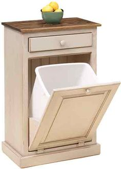 Wooden Primitive Garbage Can Front Load Trash Bin Cabinet With Drawer 1349645873 Jpg