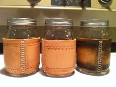 Leather wrapped mason jar 16 oz for coffee or by oldtymedesigns 30