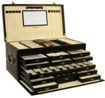 Morelle Largest Genuine Leather Jewelry Box with LED lights