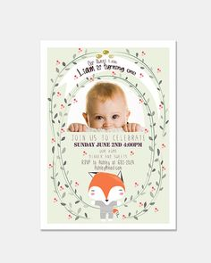 Baby's First Year Birthday Invitation Digital & Printable file - Adorable Baby Fox Illustration