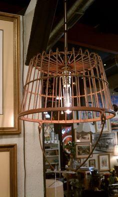 Metal basket turned light fixture