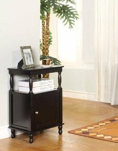 King's Brand R1117 Wood Accent Side Table, Black Finish by King's Brand. $98.81. Available in black finish. Measures 17-inch length by 14-inch width by 28-inch height. One open shelf and one hinged door. Wood accent side table. Simple assembly required. Wood accent side table has one open shelf and one hinged door. Simple assembly required. Available in black finish. Measures 17-inch length by 14-inch width by 28-inch height.. Save 51% Off!