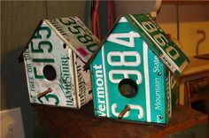 recycled license plate birdhouses