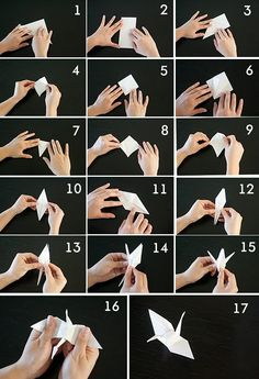 how to fold traditional Japanese origami cranes