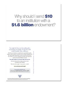 Wellesley College. Fundraising post card explains why $10 helps.