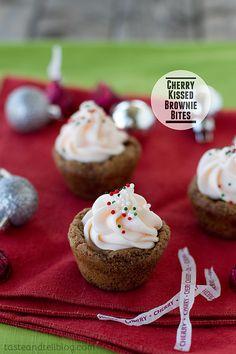 Cherry Kissed Brownie Bites.