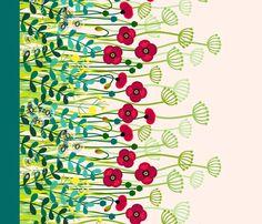 Meadow #Flowers #Poppy Border | #coggon #spoonflower | #red #green #peach #yellow