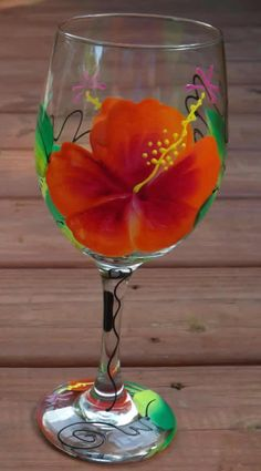 Hibiscus Hand Painted Wine Glasses | Island Jay | Resort Wear ...