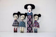 Geisha and three Japanese Art Dolls by Kasia Urban Rybska / needlepoint, handmade http://kasiaurbanrybska.com/