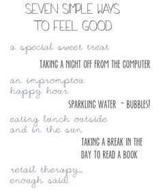 seven simple ways to feel good