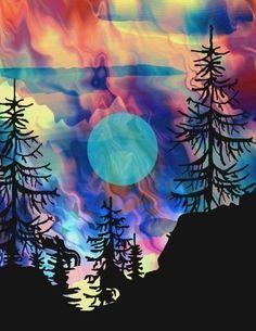 Artist Made Fabric 4 Panels Aurora Borealis Landscape College Fiber Art Quilting