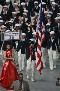 Image detail for -... Lomong leads Team USA in the Olympic Summer Games Opening Ceremony