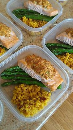 Crab stuffed salmon pic    Crab claw meat with bay seasoning, chopped onion, garlic and other spices stuffed into wild caught salmon and broiled. Served with steamed asparagus and saffron cous cous with sundried tomatoes.     Healthy meals with Weekly Meal Prep from personal chefs at www.friendthatcooks.com