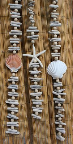 Decorative Driftwood Garland with assorted seashells and white finger starfish (http://www.caseashells.com/driftwood-garland-set-of-3/)  #driftwood