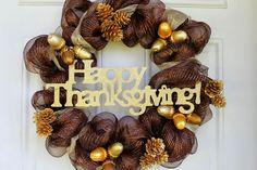 thanksgiving wreaths, thanksgiv wreath, crafti, colors, wreath idea, enjoying life, pine, craft night, deco mesh