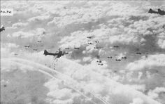 US Eighth Air Force B-17 bombers dropping bombs through the clouds over Berlin, 1944. (USAF Photo)