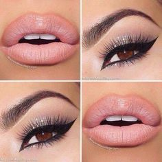 Gorgeous pink lips. Silver eyeshadow. Winged eyeliner. Makeup look holiday makeup, nail, eye makeup, cat eyes, soft pink, lips, hair masks, lip colors, beauti