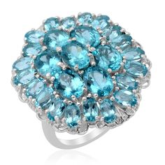 Liquidation Channel | Paraiba Apatite Ring in Platinum Overlay Sterling Silver (Nickel Free)