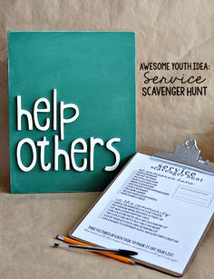 Such a fun idea for a youth activity- service scavenger hunt with free printables