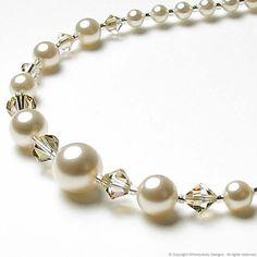 crystals, bead necklac, swarovski pearl, beaded necklaces, sachet swarovski, pearls, jewelri inspir, cream sachet, crystal bead