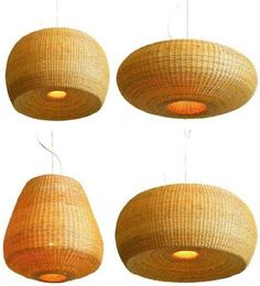 Santiago-based Made in Mimbre is a team of designers and artisans who create modern wicker lighting and furniture using traditional crafts techniques.   - this would look awesome in our bedroom
