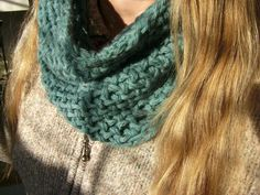 Loom knit cowl using mock crochet stitch (on yellow Knifty Knitter)